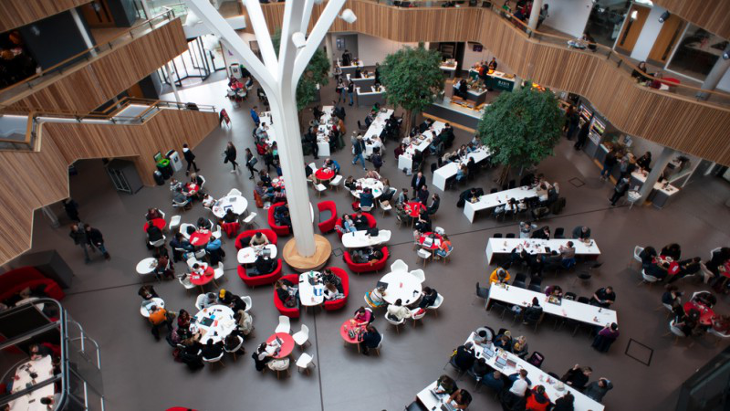 The 聚变 Building atrium/canteen area from an upper floor